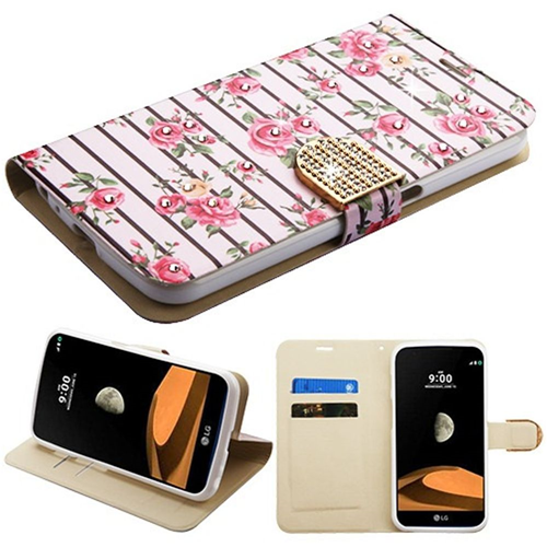 Insten Roses Flip Leather Fabric Cover Case w/stand/card holder/Diamond For LG V9, White/Pink