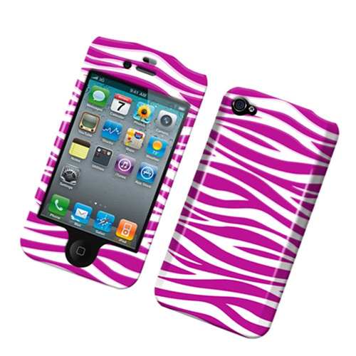 Insten Zebra Hard Rubberized Case For Apple iPhone 4/4S, Hot Pink/White