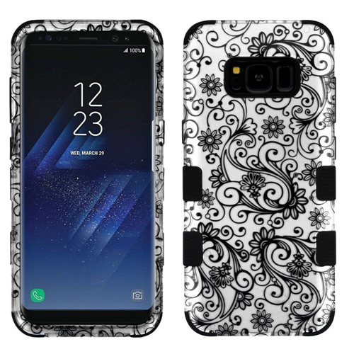 Insten Four-leaf Clover Hard Hybrid Rubber Silicone Case For Samsung Galaxy S8 Plus, Silver/Black