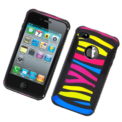 Insten Zebra Hard Dual Layer Plastic TPU Case For Apple iPhone 4/4S, Colorful