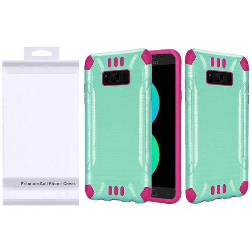 Insten Slim Armor Hard Hybrid Brushed TPU Cover Case For Samsung Galaxy S8 Plus, Teal/Hot Pink