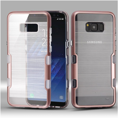 Insten Tuff Hard Hybrid Metallic TPU Cover Case For Samsung Galaxy S8 Plus, Rose Gold/Clear
