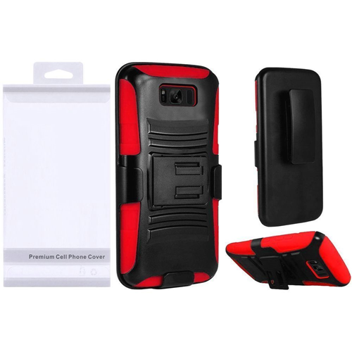 Insten Wave Symbiosis Hard Hybrid Plastic Case w/stand/Holster For Samsung Galaxy S8 Plus, Black/Red