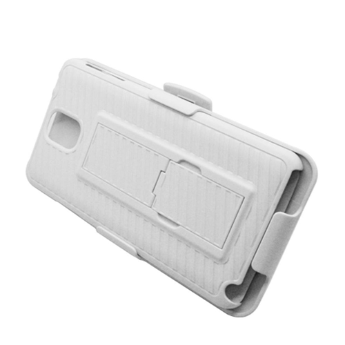 Insten Hard Rubber Coated Case w/stand/Holster For Samsung Galaxy Note 3, White