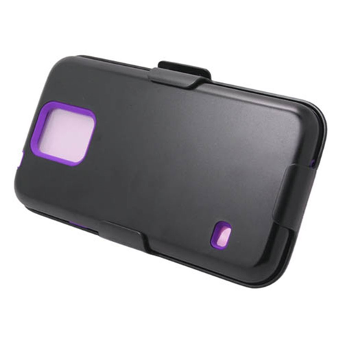 Insten Hard Plastic Silicone Case w/Holster For Samsung Galaxy S5, Black/Purple