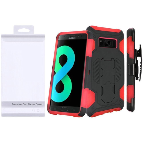 Insten SuperCoil Hard Dual Layer Plastic Case w/stand/Holster For Samsung Galaxy S8 Plus, Black/Red