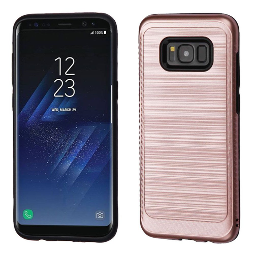 Insten Hard Hybrid Brushed TPU Cover Case For Samsung Galaxy S8, Rose Gold/Black
