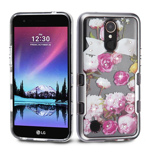 Insten Roses Hard Hybrid Case w/Diamond For LG Harmony/K10 (2017)/K20 Plus/K20 V, Multi-Color
