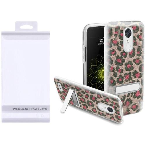 Insten Leopard Hard Glitter TPU Case w/stand For LG Grace 4G/Harmony/K20 Plus/K20 V, Pink