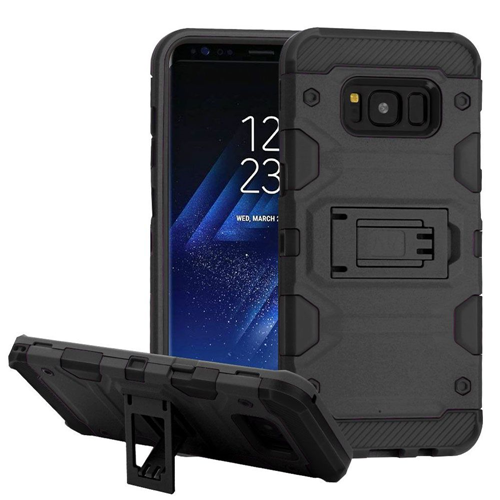 Insten Storm Tank Hard Dual Layer Plastic TPU Case w/stand For Samsung Galaxy S8, Black