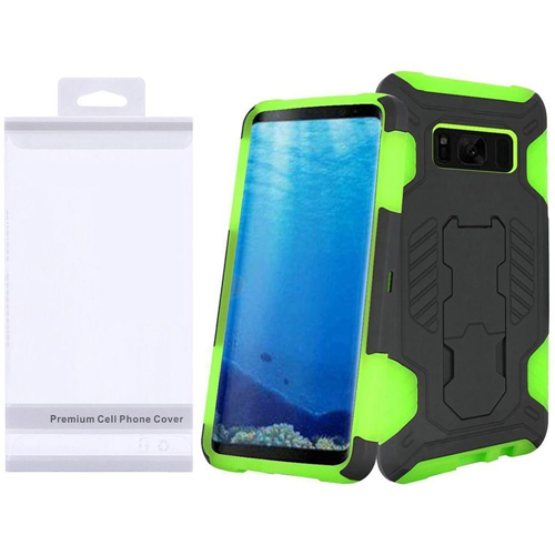 Insten SuperCoil Hard Hybrid Plastic Cover Case w/stand For Samsung Galaxy S8, Black/Neon Green