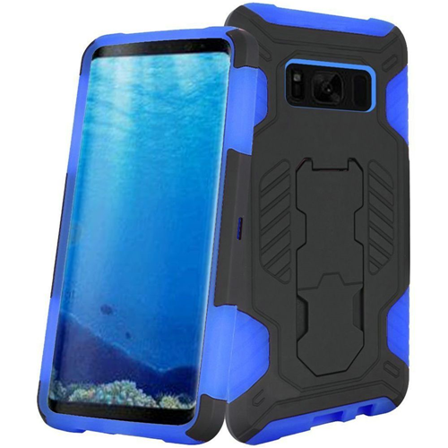 Insten SuperCoil Hard Hybrid Plastic Cover Case w/stand For Samsung Galaxy S8, Black/Blue