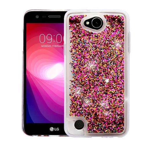 Insten Quicksand Polygons Hard Plastic TPU Case For LG X Power 2, Hot Pink