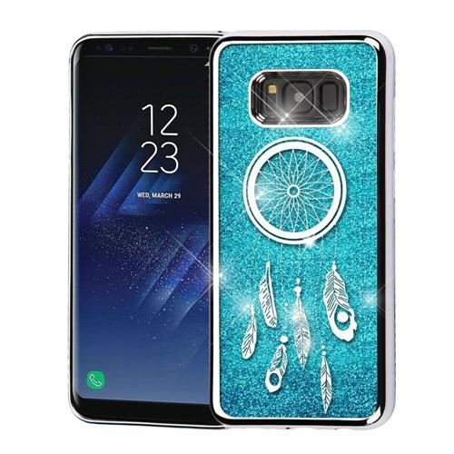 Insten Quicksand Dreamcatcher Hard Plastic Chrome Case For Samsung Galaxy S8 Plus, Blue/Silver