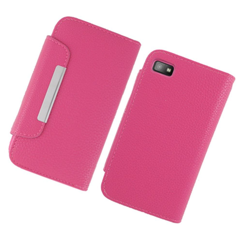 Insten Book-Style Leather Fabric Cover Case w/card slot For BlackBerry Z10, Hot Pink