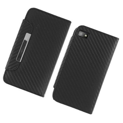 Insten Carbon Fiber Book-Style Leather Fabric Cover Case w/card slot For BlackBerry Z10, Black