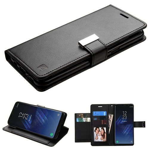 Insten Folio Leather Fabric Case w/stand/card slot/Photo Display For Samsung Galaxy S8, Black
