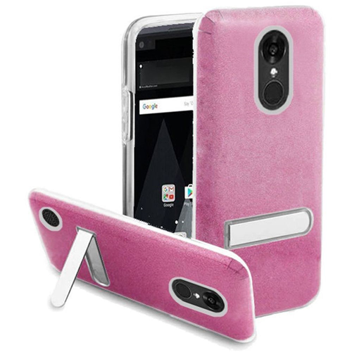 Insten Hard Glitter TPU Cover Case w/stand For LG Aristo/K8 (2017), Rose/Clear