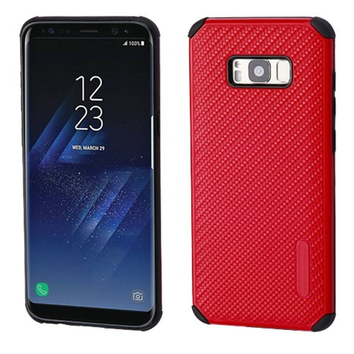 Insten Mat Weave Hard Hybrid Plastic TPU Case For Samsung Galaxy S8 Plus, Red