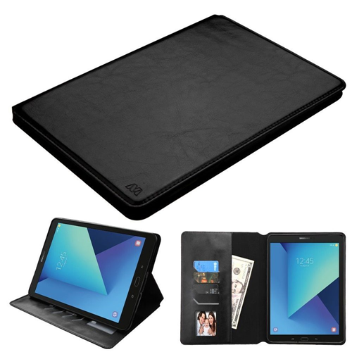"""Insten Folio Leather Fabric Case w/stand/Photo Display For Samsung Galaxy Tab S3 9.7"""", Black"""