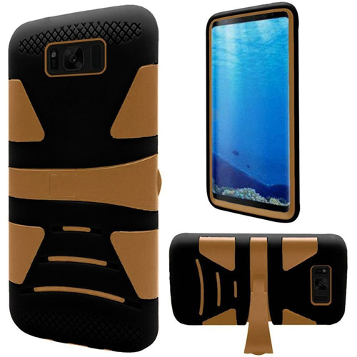 Insten Hard Dual Layer Plastic TPU Cover Case w/stand For Samsung Galaxy S8, Gold/Black