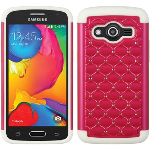 Insten Hard Hybrid Plastic Silicone Cover Case w/Diamond For Samsung Galaxy Avant, Red/White