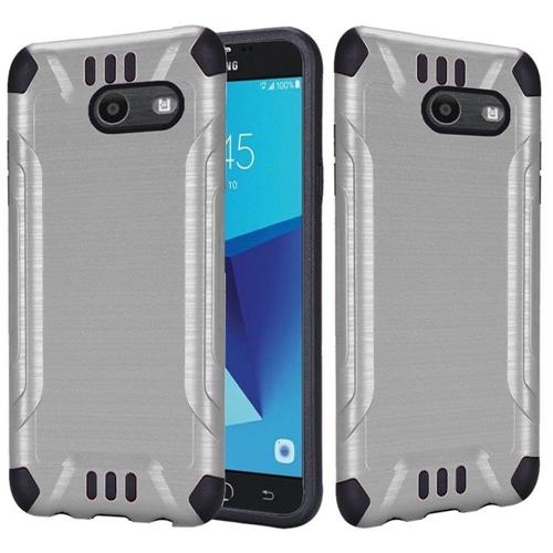 Insten Hybrid Brushed TPU Case For Samsung Galaxy Halo/J7 (2017)/J7 Perx/J7 Prime, Silver/Black