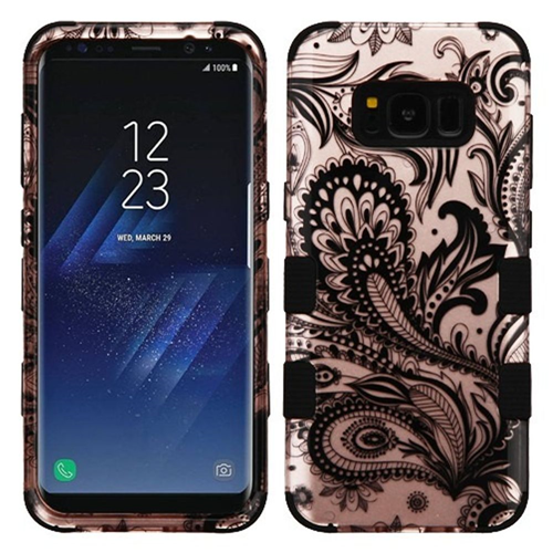 Insten Phoenix Flower Hard Rubberized Silicone Case For Samsung Galaxy S8 Plus, Rose Gold/Black