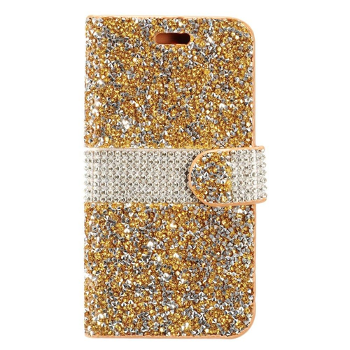 Insten Book-Style Leather Diamante Cover Case w/card slot For Samsung Galaxy S8, Gold/Silver
