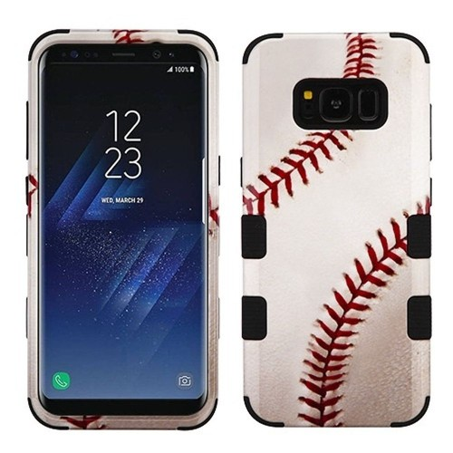 Insten Tuff Baseball Hard Hybrid Silicone Cover Case For Samsung Galaxy S8 Plus, White/Red