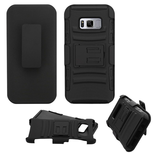 Insten Advanced Armor Hard Hybrid TPU Cover Case w/stand/Holster For Samsung Galaxy S8, Black