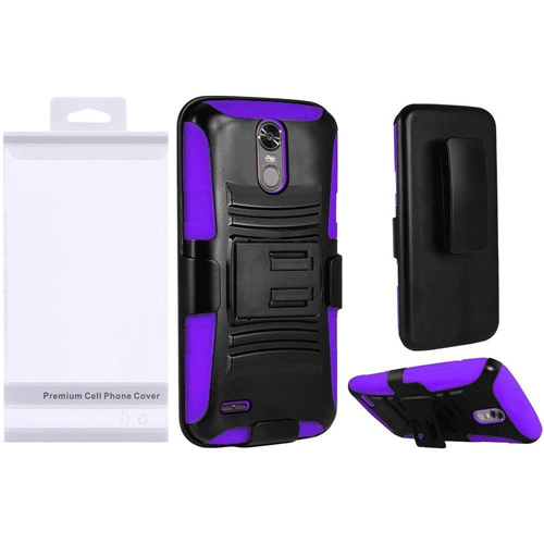Insten Wave Symbiosis Hard Dual Layer Plastic Case w/stand/Holster For LG Stylo 3, Black/Purple