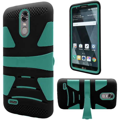 Insten Hard Hybrid TPU Cover Case w/stand For LG Stylo 3, Black/Teal