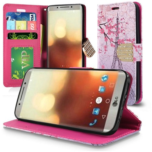 Insten Vintage Eiffel Tower Flip Leather Fabric Case Lanyard w/stand/Diamond For LG G6, Multi-Color