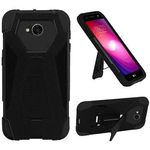 Insten T-Stand Hard Silicone Case w/stand For LG Fiesta LTE/K10 Power/X Charge/X Power 2, Black