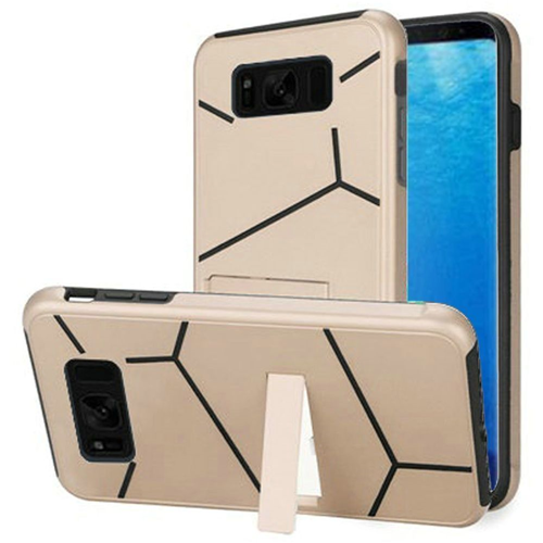 Insten Hard Hybrid Plastic TPU Case w/stand For Samsung Galaxy S8, Gold/Black
