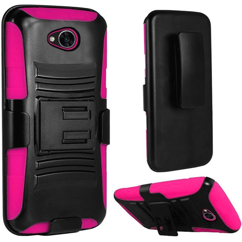 Insten Hard Dual Layer Case w/stand For LG Fiesta LTE/K10 Power/X Charge/X Power 2, Black/Hot Pink