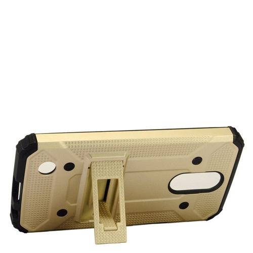 Insten Hard Dual Layer TPU Case w/stand For LG Harmony/K10 (2017)/K20 Plus/K20 V, Gold/Black