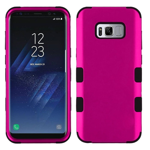 Insten Tuff Hard Hybrid Metallic TPU Case For Samsung Galaxy S8 Plus, Hot Pink/Black