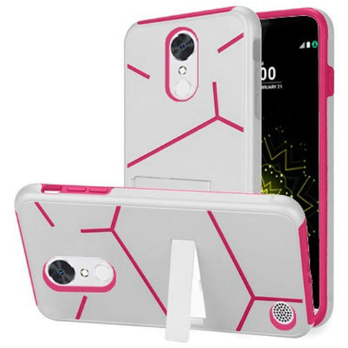 Insten Fitted Soft Shell Case - Hot Pink;White