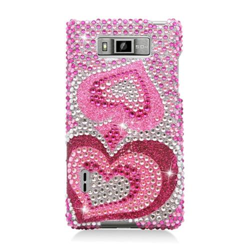 Insten Hearts Hard Diamante Case For LG Splendor US730 / Venice LG730, Hot Pink