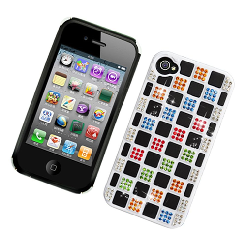 Insten Checker Hard Rhinestone Case For Apple iPhone 4/4S, Multi-Color/White