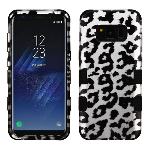 Insten Leopard Hard Hybrid Rubber Coated Silicone Case For Samsung Galaxy S8 Plus, Silver/Black