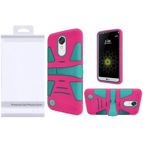 Insten Hybrid Plastic Silicone Case w/stand For LG Grace 4G/Harmony/K20 Plus/K20 V, Teal/Hot Pink