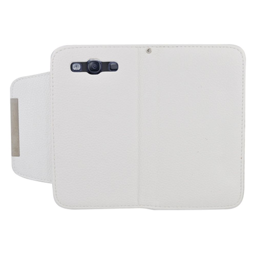 Insten Book-Style Leather Fabric Case w/card holder For Samsung Galaxy S3, White