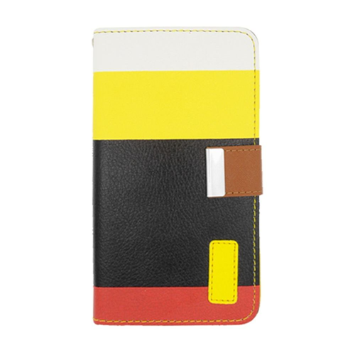 Insten Multicolor Leather Fabric Case w/card holder For Samsung Galaxy Note 3, Black/Yellow