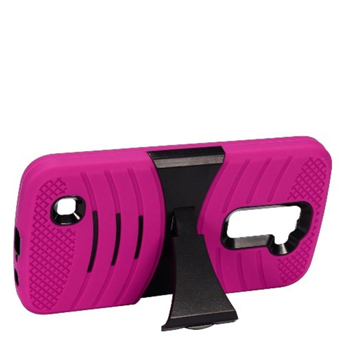 Insten Wave Symbiosis Soft Rubber Hard Cover Case w/stand For LG K10 (2016), Hot Pink/Black