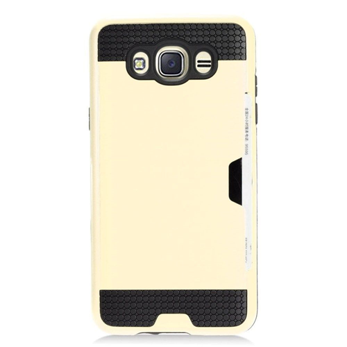 Insten Chrome Brushed Hard Cover Case w/card holder For Samsung Galaxy J7 (2016), Gold/Black