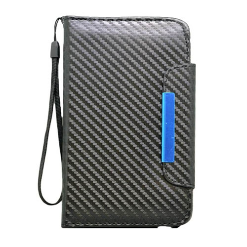 Insten Carbon Fiber Book-Style Leather Fabric Case Lanyard w For Samsung Galaxy Note II, Black