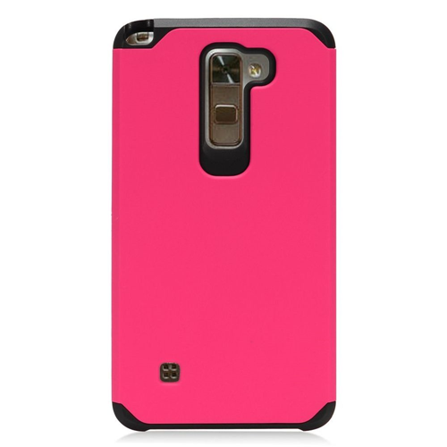Insten Hard Hybrid TPU Cover Case For LG Stylo 2/Stylus 2, Hot Pink/Black